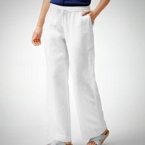 Tommy Bahama white linen pants light wide leg L/G